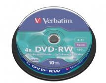 Verbatim DVD-RW 4X 4.7GB Branded Surface DVD Discs - 10 Pack