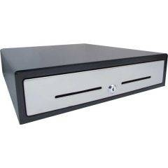 VPOS Cash Drawer EC410 4 Note 8 Coin 24V - Black with Stainless Steel Front