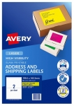 Avery L7168FY Fluoro Yellow Laser 199.6 x 143.5mm Permanent Visibility Shipping Labels - 50 Pack