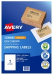 Avery L7168 Kraft Brown Laser 199.6 x 143.5mm Permanent Shipping Labels – 40 Pack