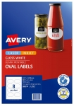 Avery L7127 Glossy White Laser Inkjet 85 x 51mm Oval Permanent Product Labels - 80 Pack
