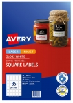 Avery L7119 Glossy White Laser Inkjet 35mm Square Permanent Product Labels - 350 Pack