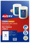Avery L7107REV White Laser Inkjet 62 x 42mm Removable Product Labels - 180 Pack