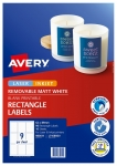 Avery L7108REV White Laser Inkjet 62 x 89mm Removable Product Labels - 90 Pack
