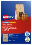 Avery L7145 Kraft Brown Laser Inkjet 190 x 16mm Permanent Wraparound Labels – 180 Pack