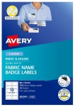 Avery L7427 Fabric White Laser 88 x 52mm Removable Print & Divide Name Badge Labels - 150 Pack