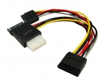 Dynamix Dual Port Serial ATA Power Splitter Cable, Splits 1x SATA 15P to 2x SATA 15P to 2x SATA 15p Female