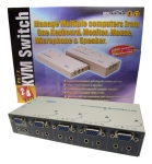 4 Port Entry Level PS/2 KVM Switch - 4 PC PS/2 with Mic & Speaker support