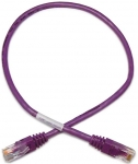 Dynamix 1M Cat 5E UTP Cross Over Patch Lead - Purple Colour with Label Slimline Molding & Latch Down Plug