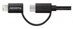 ADATA 2m USB 2.0 2-in-1 Lightning & Micro USB Charge & Sync Cable - Black