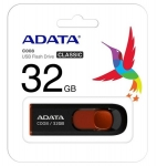 ADATA C008 32GB Retractable USB 2.0 Flash Drive - Black