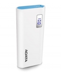 ADATA P12500D 12500mAh 2.1A 2x USB Power Bank with LCD Display - White