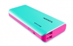 ADATA PT100 10000mAh Dual Port USB Power Bank with LED Flashlight - Aqua/Pink