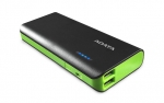 ADATA PT100 10000mAh Dual Port USB Power Bank with LED Flashlight - Black/Green