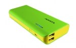 ADATA PT100 10000mAh Dual Port USB Power Bank with LED Flashlight - Green/Yellow