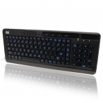 Adesso 3-Colour Illuminated USB Wired Compact Multimedia Keyboard