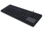 Adesso Antimicrobial Waterproof USB Wired Keyboard with Touchpad - Black