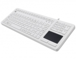 Adesso Antimicrobial Waterproof USB Wired Keyboard with Touchpad - White