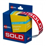 Avery 64 x 19 mm Sold Dispenser Label Red & White - 250 Labels