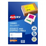 Avery L7162FO Fluoro Orange Laser 99.1 x 38.1 mm High Visibility Shipping Label - 25 Sheets