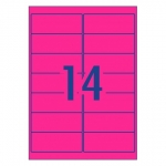 Avery L7163FP Fluoro Pink Laser 99.1 x 38.1 mm High Visibility Shipping Label - 25 Sheets