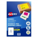 Avery L7168FY Fluoro Yellow Laser 199.6 x 143.5 mm High Visibility Shipping Label - 10 Sheets