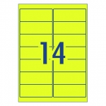 Avery L7163FY Fluoro Yellow Laser 99.1 x 38.1 mm High Visibility Shipping Label - 25 Sheets