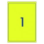 Avery L7167FY Fluoro Yellow Laser 199.6 x 289.1 mm High Visibility Shipping Label - 25 Sheets