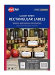 Avery L7123 Glossy White Laser Inkjet 80 x 35mm Permanent Rectangle Labels – 140 Pack