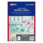 Avery L7147 Glossy White Laser Inkjet 40mm Round Permanent Labels - 240 Pack