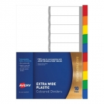 Avery L7411-10 A4 Laser Inkjet Coloured Extra Wide Plastic Divider - 10 Tabs