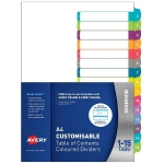 Avery L7411-15 Multi-Coloured A4 Laser Inkjet Customisable Dividers - 15 Tabs