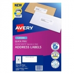 Avery L7158 White Laser 64 x 26.7mm Permanent Quick Peel Address Labels with Sure Feed - 3000 Pack