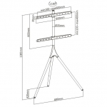 Brateck Artistic Easel Studio Floor Stand for 45-65 Inch Monitors - Up to 32kg