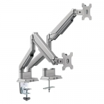 Brateck Gas Spring Dual Desk Mount Bracket for 17-32 Inch Curved and Flat Panel TVs or Monitors - Up to 9kgs