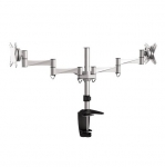 Brateck Elegant Aluminum Dual Desk Mount Bracket for 13-27 Inch Flat Panel TVs or Monitors - Up to 8kg per arm