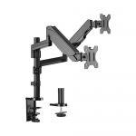 Brateck Aluminum Gas Spring Dual Monitor Desk Mount Bracket for 17-32 Inch Curved & Flat Panel TVs or Monitors - 1 to 8kg per arm