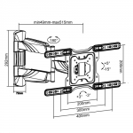 Brateck Elegant Full-Motion 515mm Wall Mount Bracket for 23-55 Inch Flat Panel & Curved TVs or Monitors - Up to 35kg
