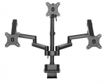 Brateck Triple Monitor Spring-Assisted Desk Mount for 17 - 27 Inch Monitors - Black