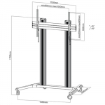 Brateck X-Large Mobile Cart Trolley Mount for 60-100 Inch Flat Panel TVs or Monitors with Monitor Roller - Up to 100kgs