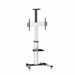 Brateck Telescopic Height 90 Degree Rotatable Single Display Cart Trolley Mount for 37-70 Inch Flat Panel TVs or Monitors with Monitor Roller & Camera/DVD Shelf - Up to 50kgs