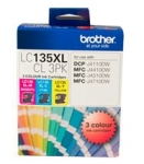 Brother LC135XLCL3PK High Yield Ink Cartridge Value Pack - Cyan, Magenta, Yellow