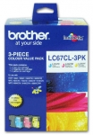 Brother LC67CL3PK Ink Cartridge Value Pack - Cyan, Magenta, Yellow