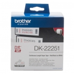 Brother DK22251 62mm x 15m Black/Red on White Continuous Label Roll Tape