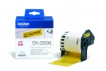 Brother DK22606 62mm x 15m Black on Yellow Continuous Removable Tape Label Roll Tape