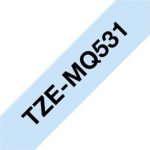 Brother P-Touch TZE-MQ531 12mm Black on Pastel Blue Laminated Label Tape