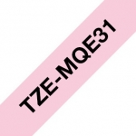 Brother P-Touch TZE-MQE31 12mm Black on Pastel Pink Laminated Label Tape