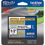 Brother P-Touch TZE-S231 12mm Black on White Strong Adhesive Label Tape