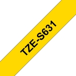 Brother P-Touch TZE-S631 12mm Black on Yellow Strong Adhesive Label Tape