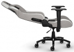 Corsair T3 RUSH Fabric Gaming Chair with Adjustable Arm Rests - Gray/White